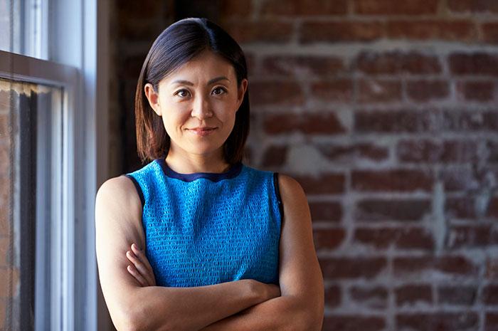 blue dress businesswoman