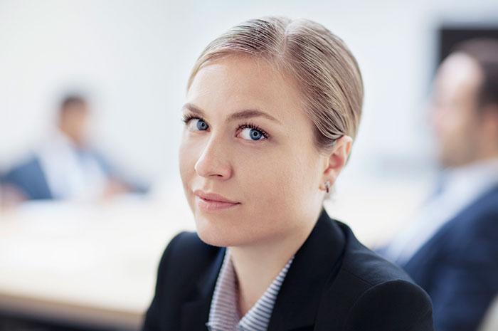 cautious business woman