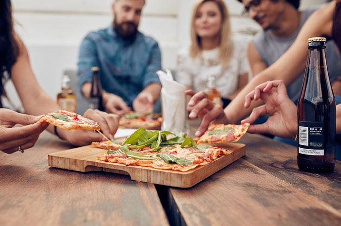 employees eating tapas