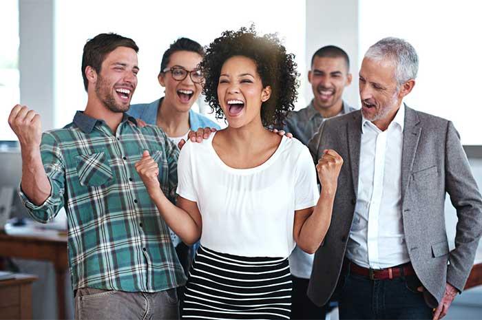 employees cheering