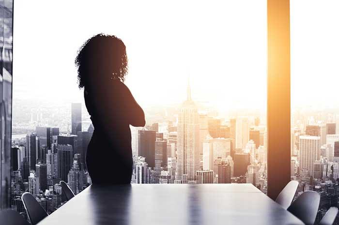 businesswoman in window