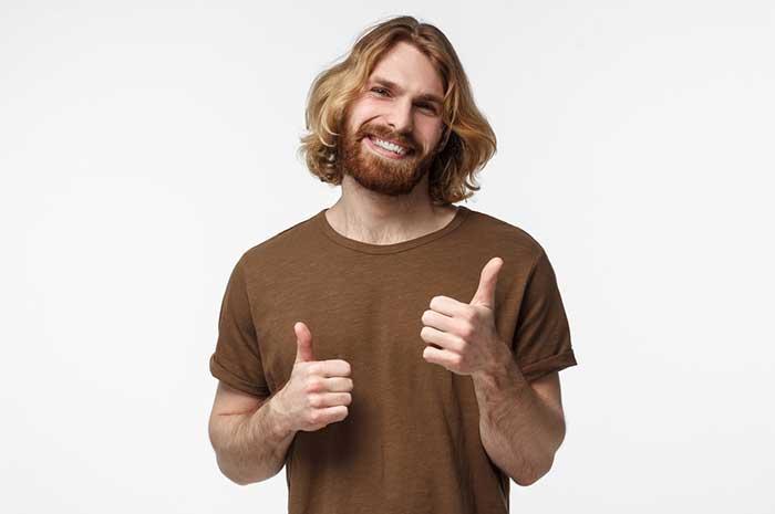 happy blonde guy