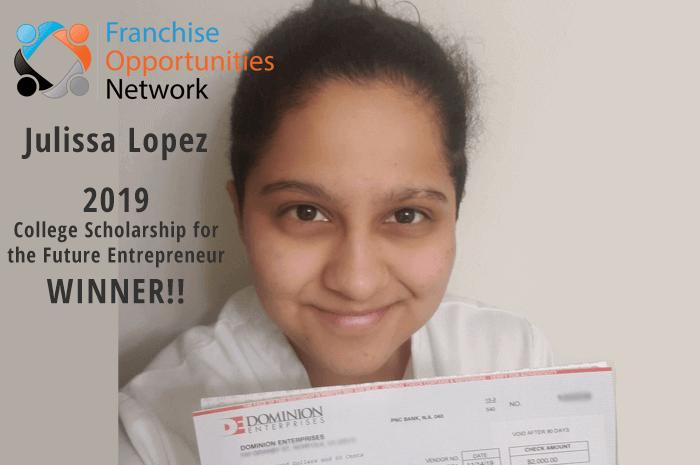 Franchise Opportunities Scholarship Winner 2019 - Julissa Lopez