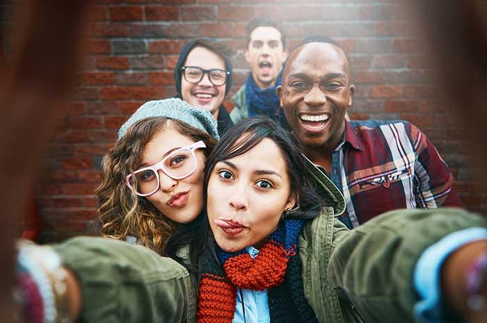 outdoor selfie with friends