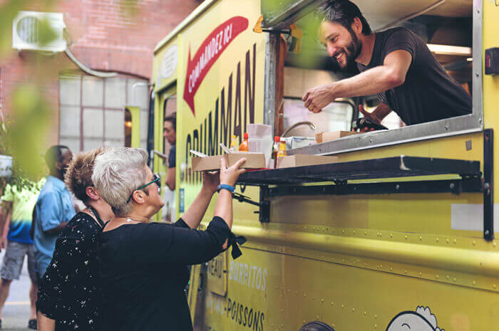 Food truck in the summer