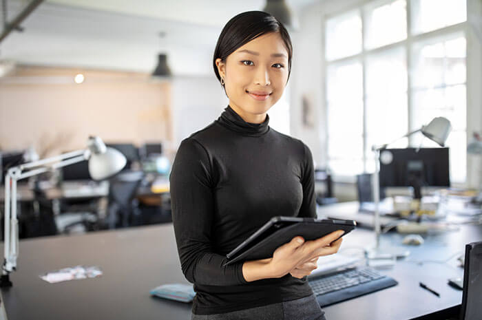 business owner with tablet