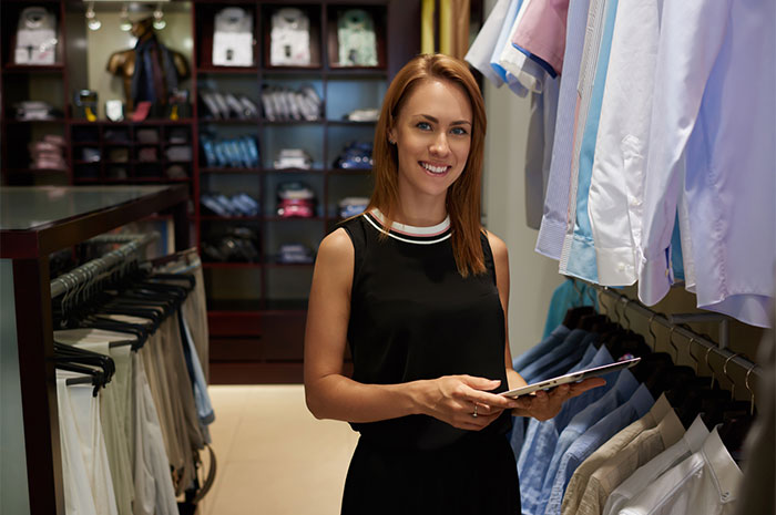 comfortable upscale clothing store
